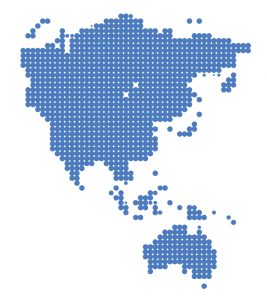 Pixelated image of Asia Pacific Region