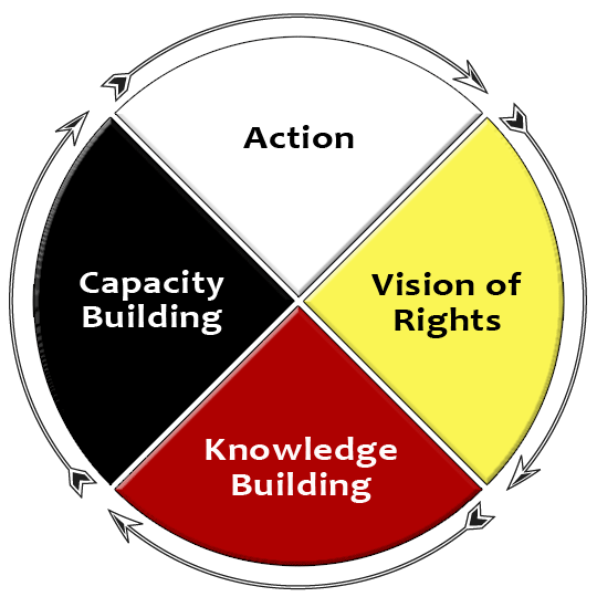 A circular medicine wheel model composed of 4 coloured quadrants: East (yellow) - Vision of Rights; South (Red) - Knowledge Building; West (black) - Capacity Building; North (white) - Action