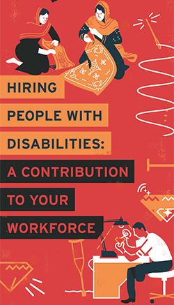 Stylized illustration of people with disabilities with the words Hiring People with Disabilities: a Contribution to your Workforce